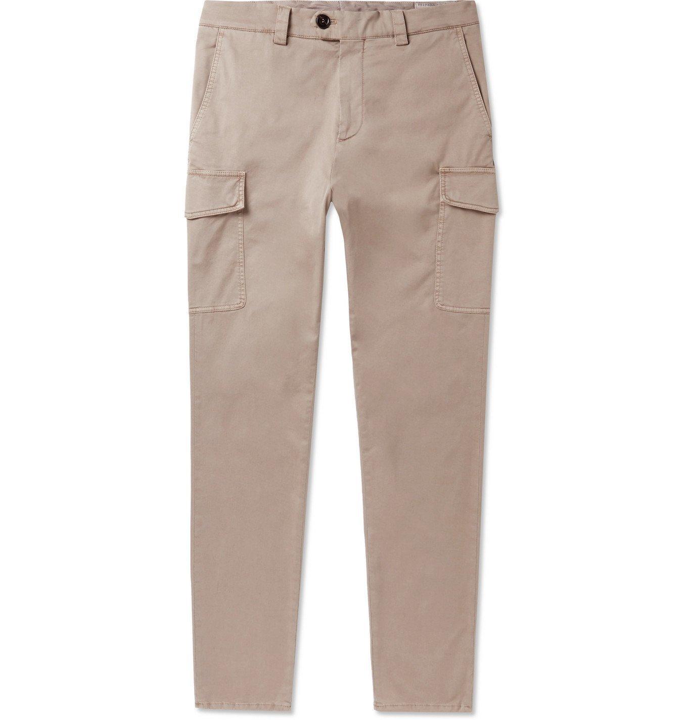 Photo: Brunello Cucinelli - Slim-Fit Stretch-Cotton Twill Cargo Trousers - Neutrals