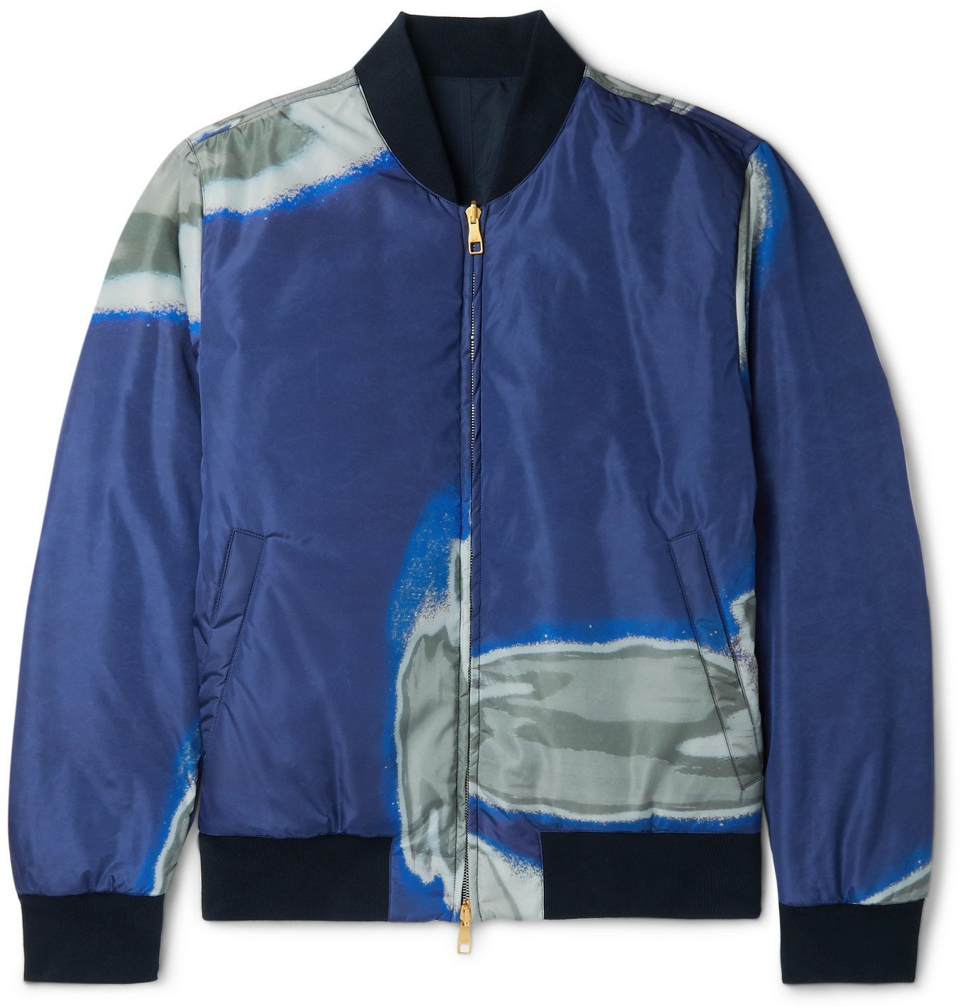 DUNHILL - Slim-Fit Reversible Printed Shell and Cotton Bomber Jacket - Blue
