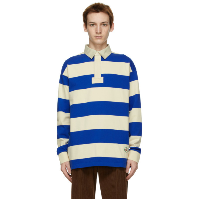 Photo: Gucci Blue and Beige Striped Long Sleeve Polo