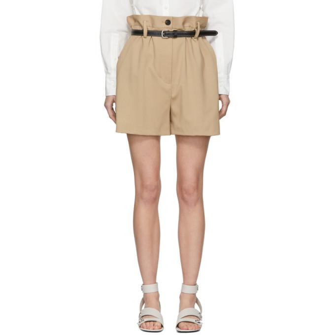 3.1 Phillip Lim Beige Wool Paper Bag Shorts