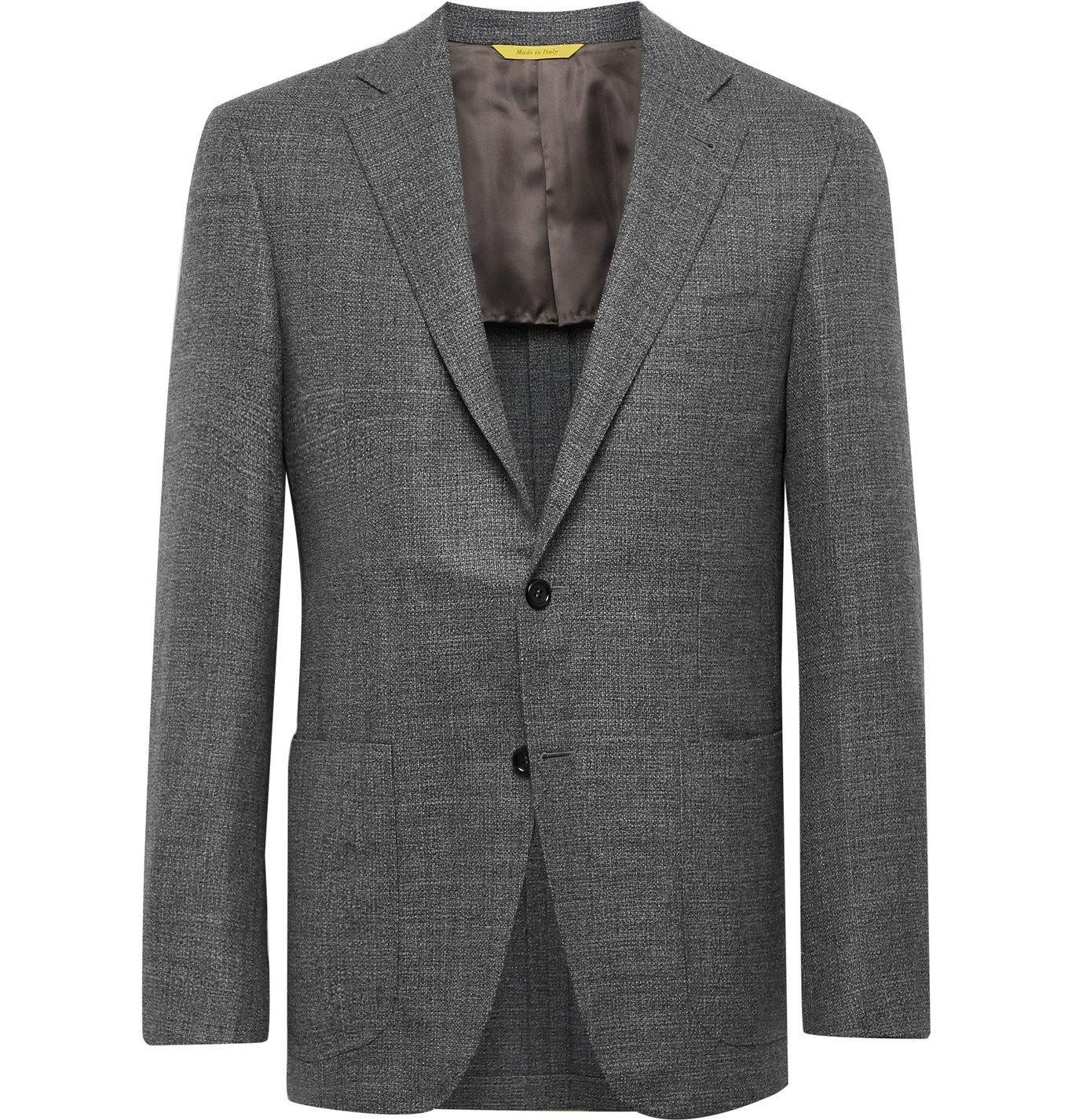 Photo: Canali - Kei Slim-Fit Unstructured Mélange Wool Blazer - Gray