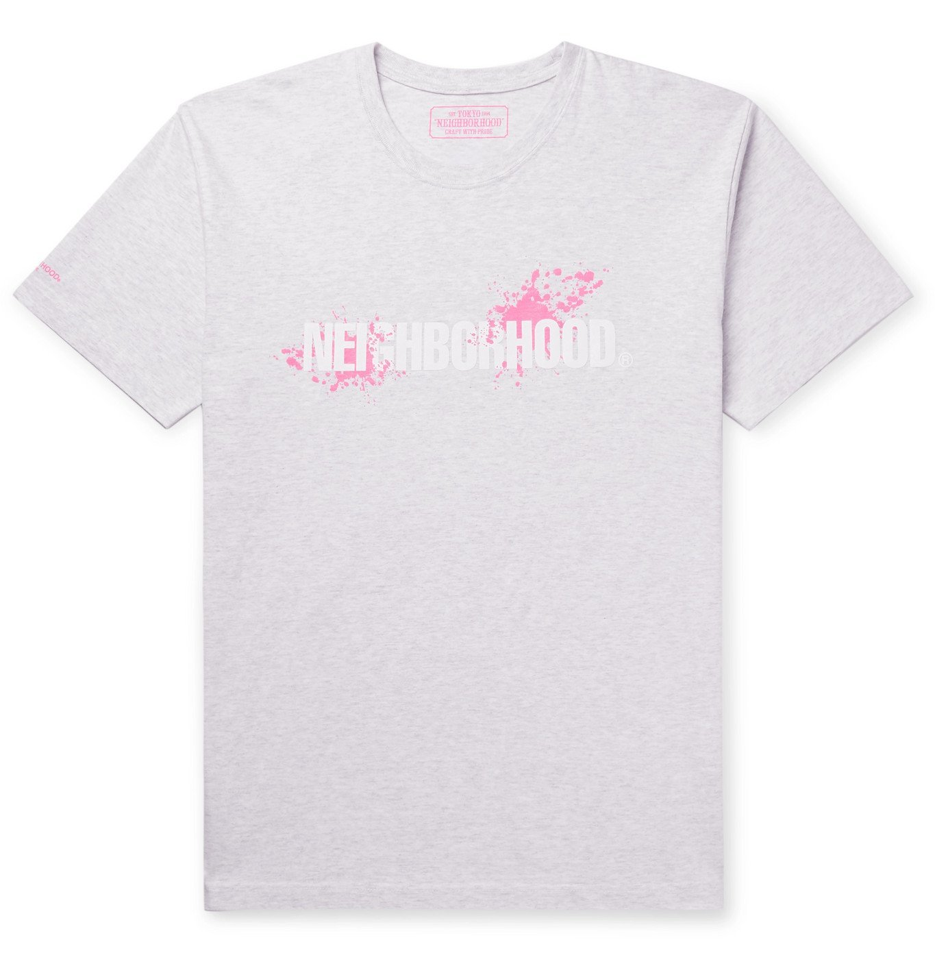 Photo: Neighborhood - Logo-Print Mélange Cotton-Jersey T-Shirt - Gray