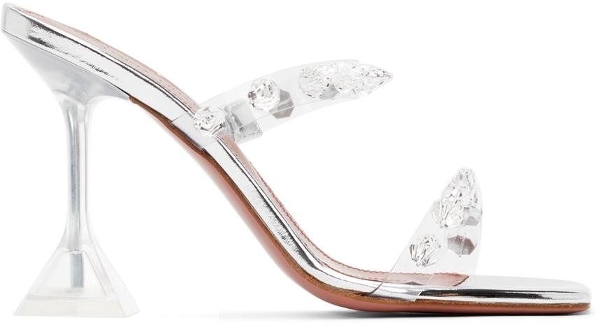 Photo: Amina Muaddi Transparent Julia Glass Heeled Sandals