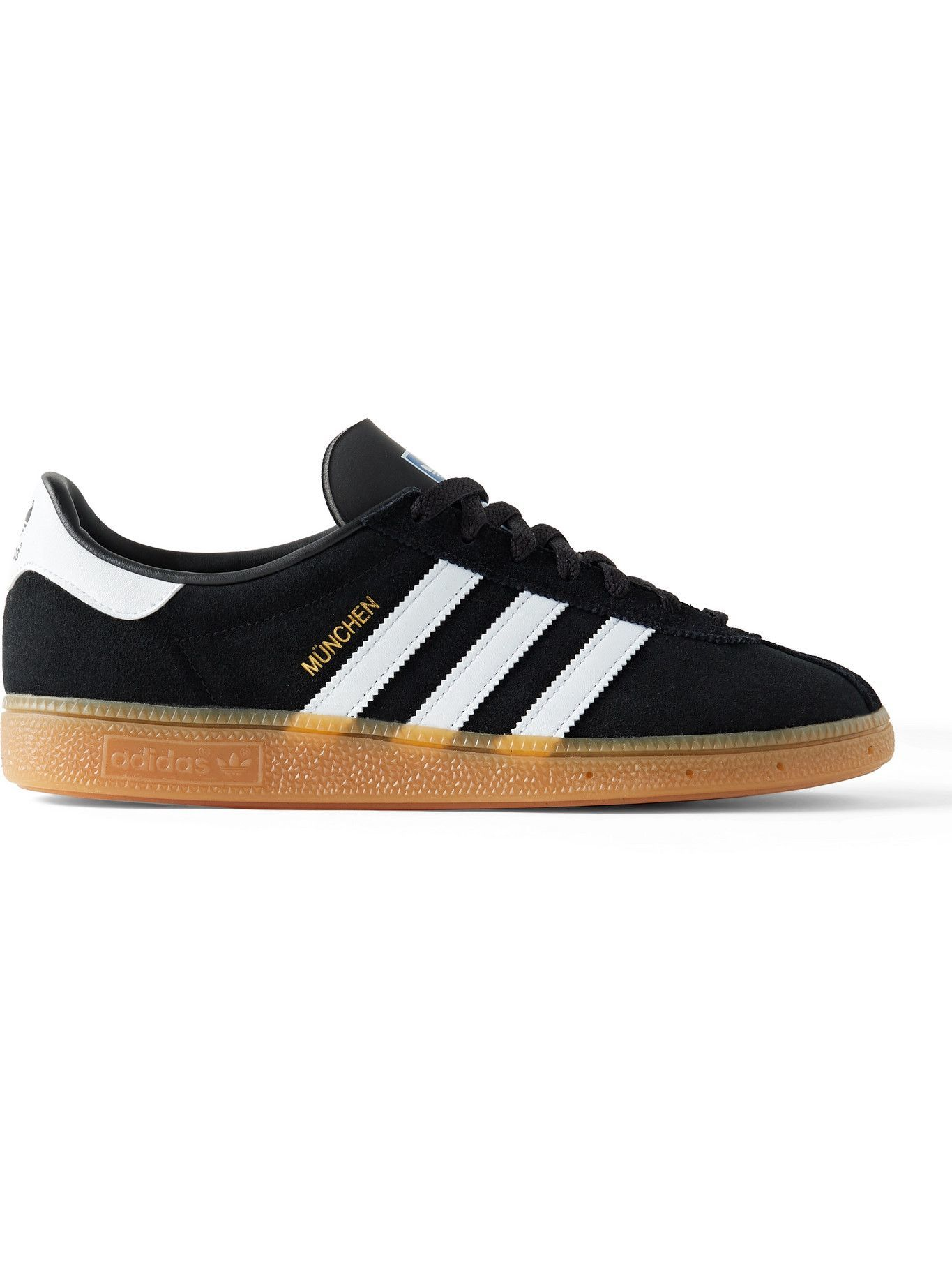 Photo: ADIDAS ORIGINALS - Munchen Leather-Trimmed Suede Sneakers - Black
