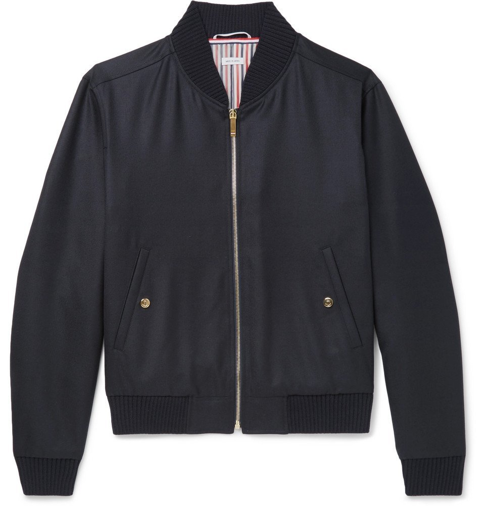 Photo: Thom Browne - Grosgrain-Trimmed Wool-Twill Bomber Jacket - Navy