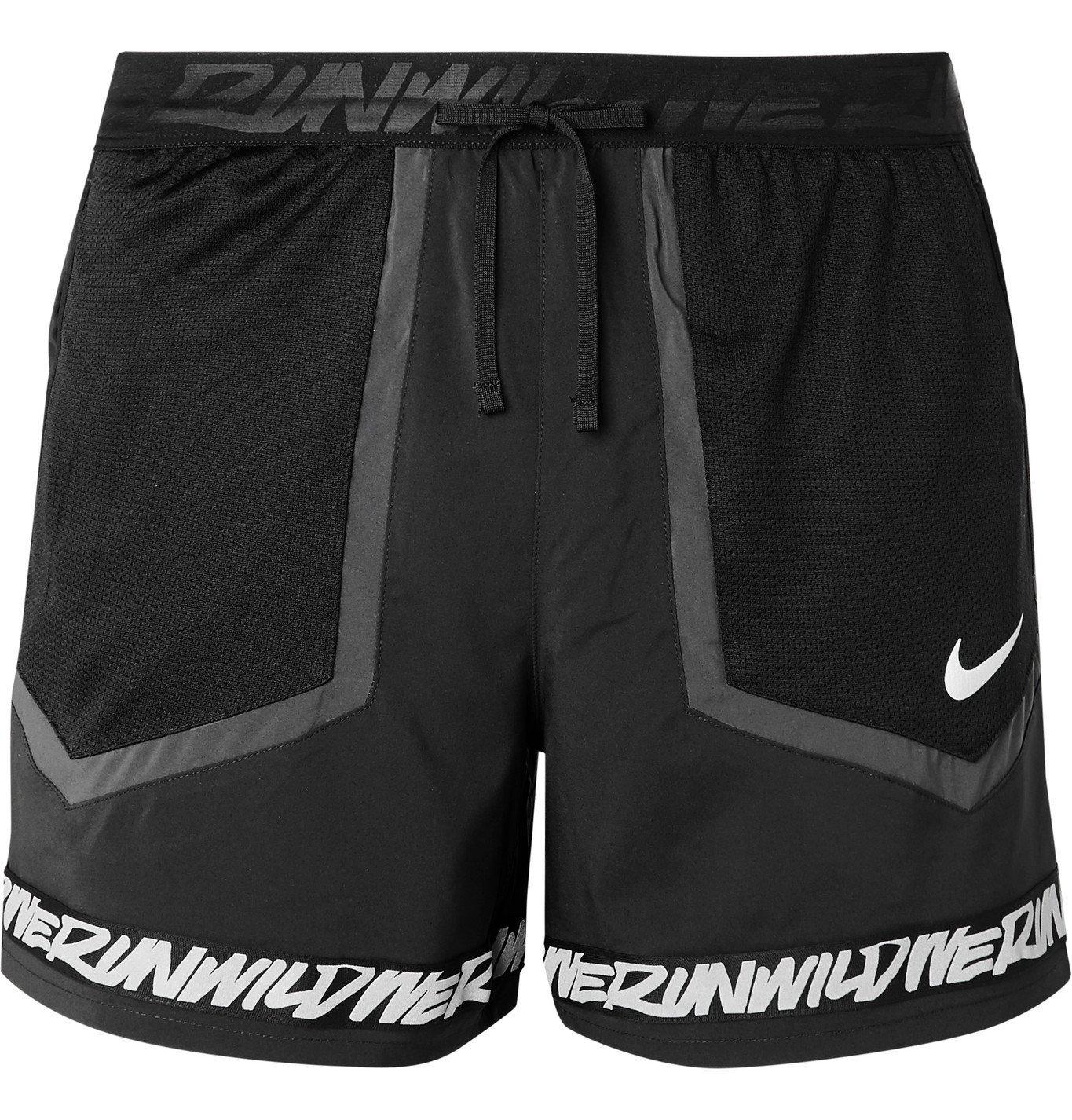 Nike Running - Flex Stride Wild Run Printed Mesh-Panelled Shell Running Shorts - Black