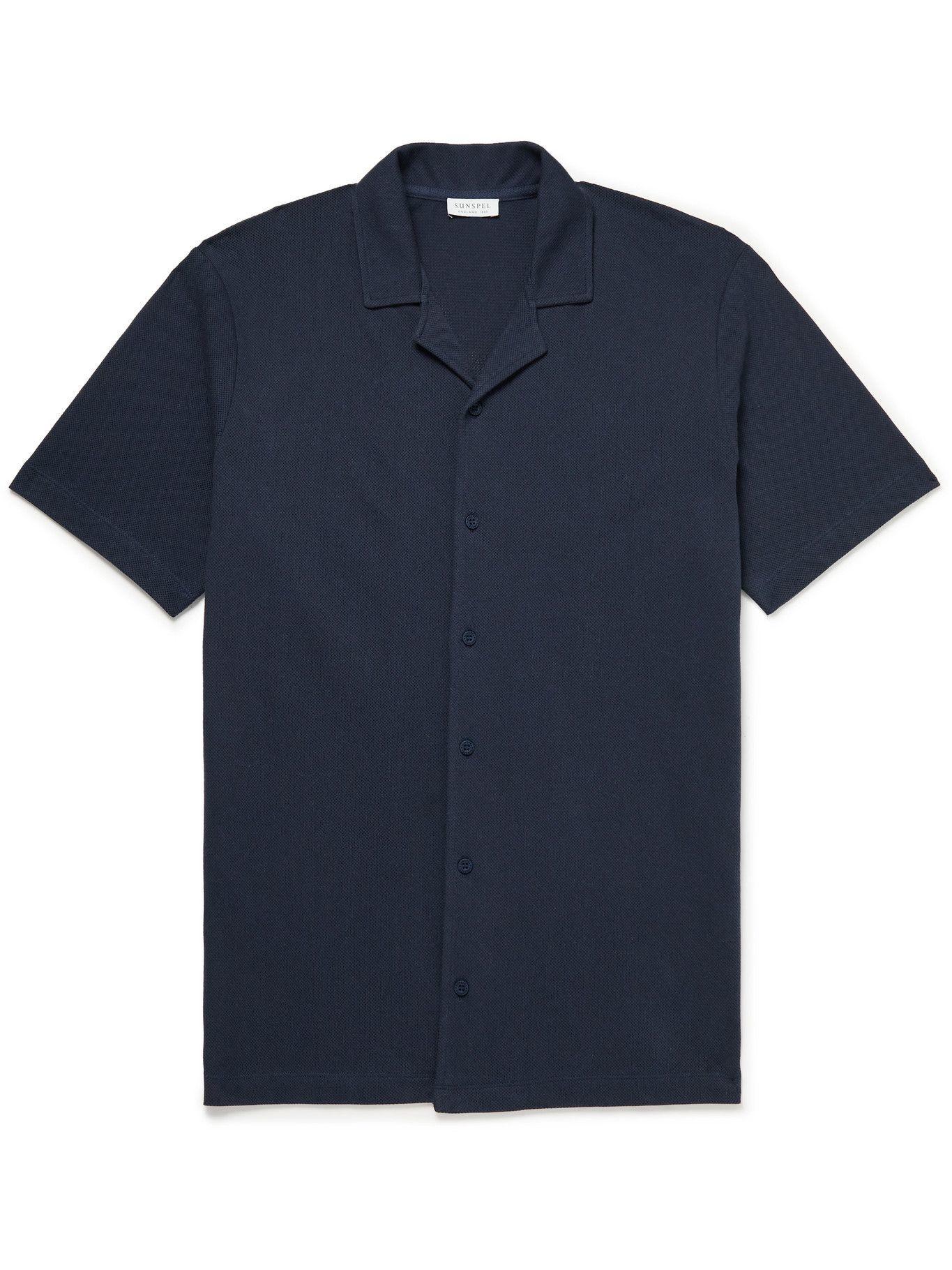 SUNSPEL - Camp-Collar Cotton-Mesh Shirt - Blue