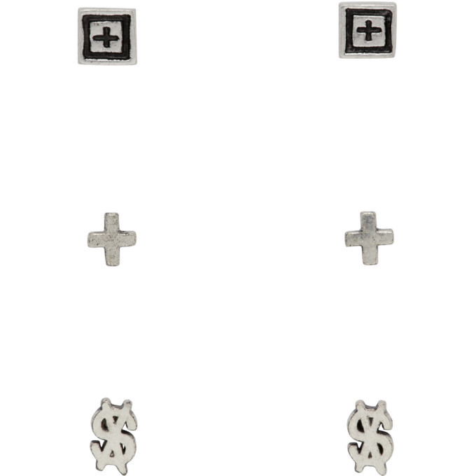 Photo: Ksubi Silver Dripps Box Cross Earring Set