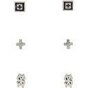 Ksubi Silver Dripps Box Cross Earring Set