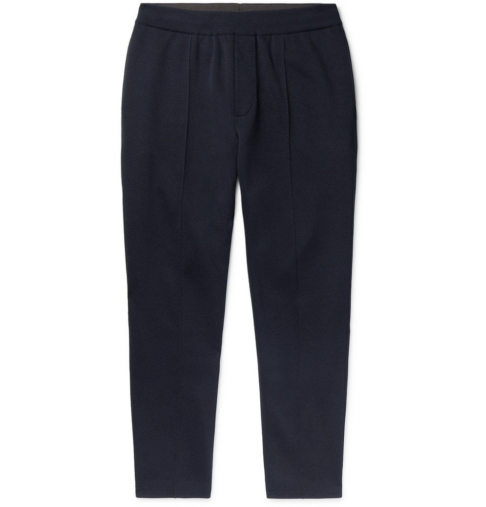 Photo: Berluti - Slim-Fit Tapered Mulberry Silk and Cotton-Blend Sweatpants - Navy