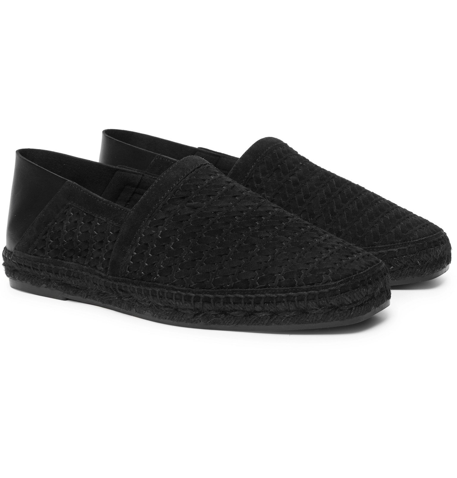 Photo: TOM FORD - Barnes Leather-Trimmed Woven Suede Espadrilles - Black