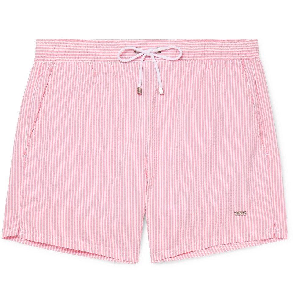 Photo: Hugo Boss - Mid-Length Striped Seersucker Swim Shorts - Pink