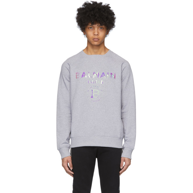 Photo: Balmain Grey Hologram Logo Sweatshirt