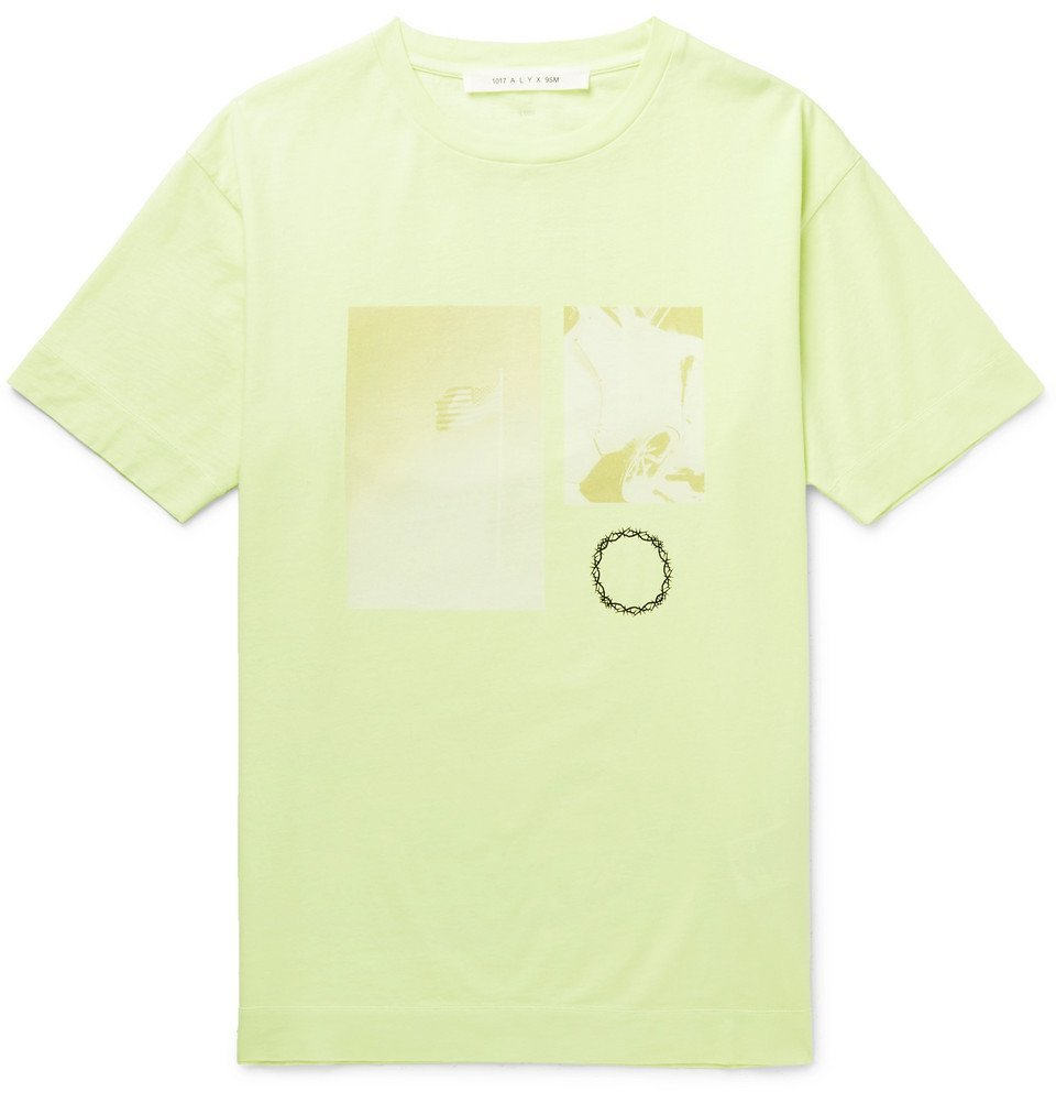 Photo: 1017 ALYX 9SM - Printed Cotton-Jersey T-Shirt - Yellow
