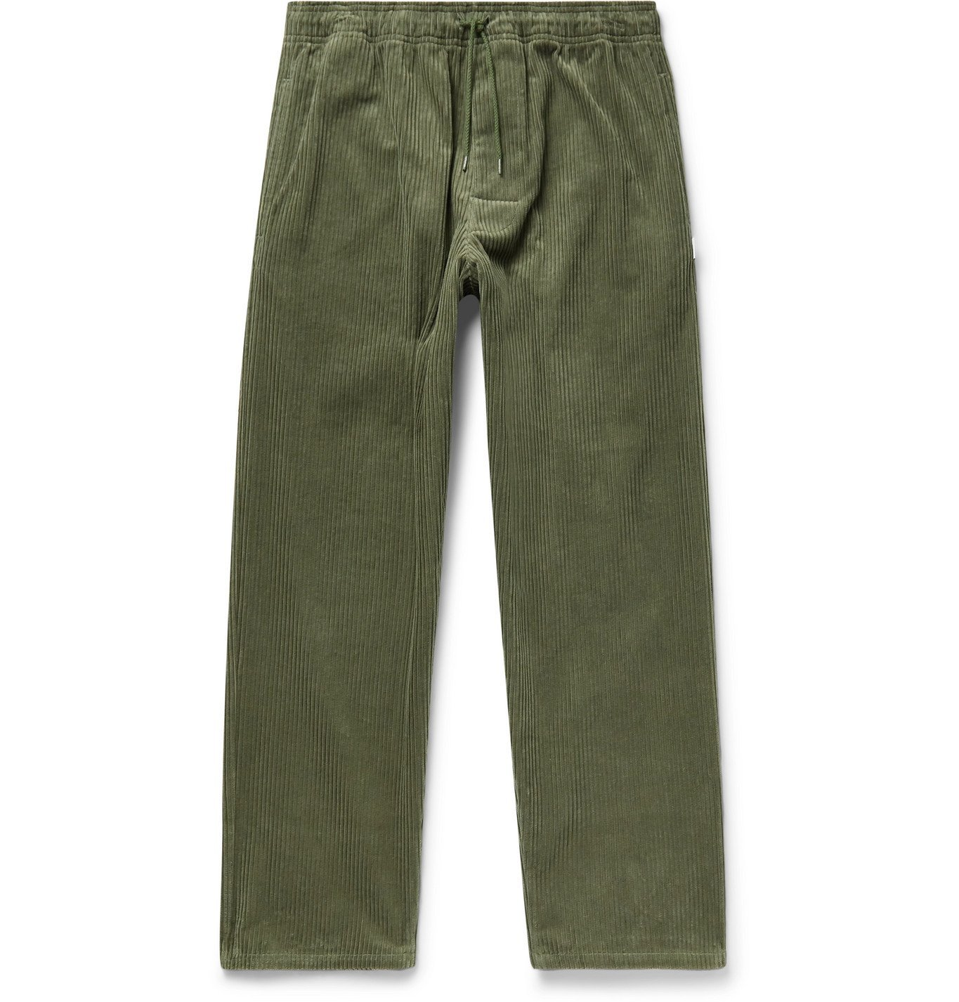 Photo: WTAPS - Chef Cropped Cotton-Corduroy Drawstring Trousers - Green