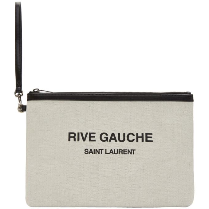 Photo: Saint Laurent Off-White Rive Gauche Zippered Pouch