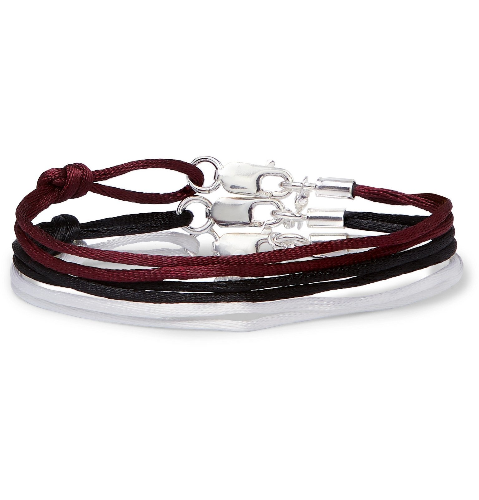 Photo: Rubinacci - Set of Three Silk Ribbon Bracelets - Burgundy