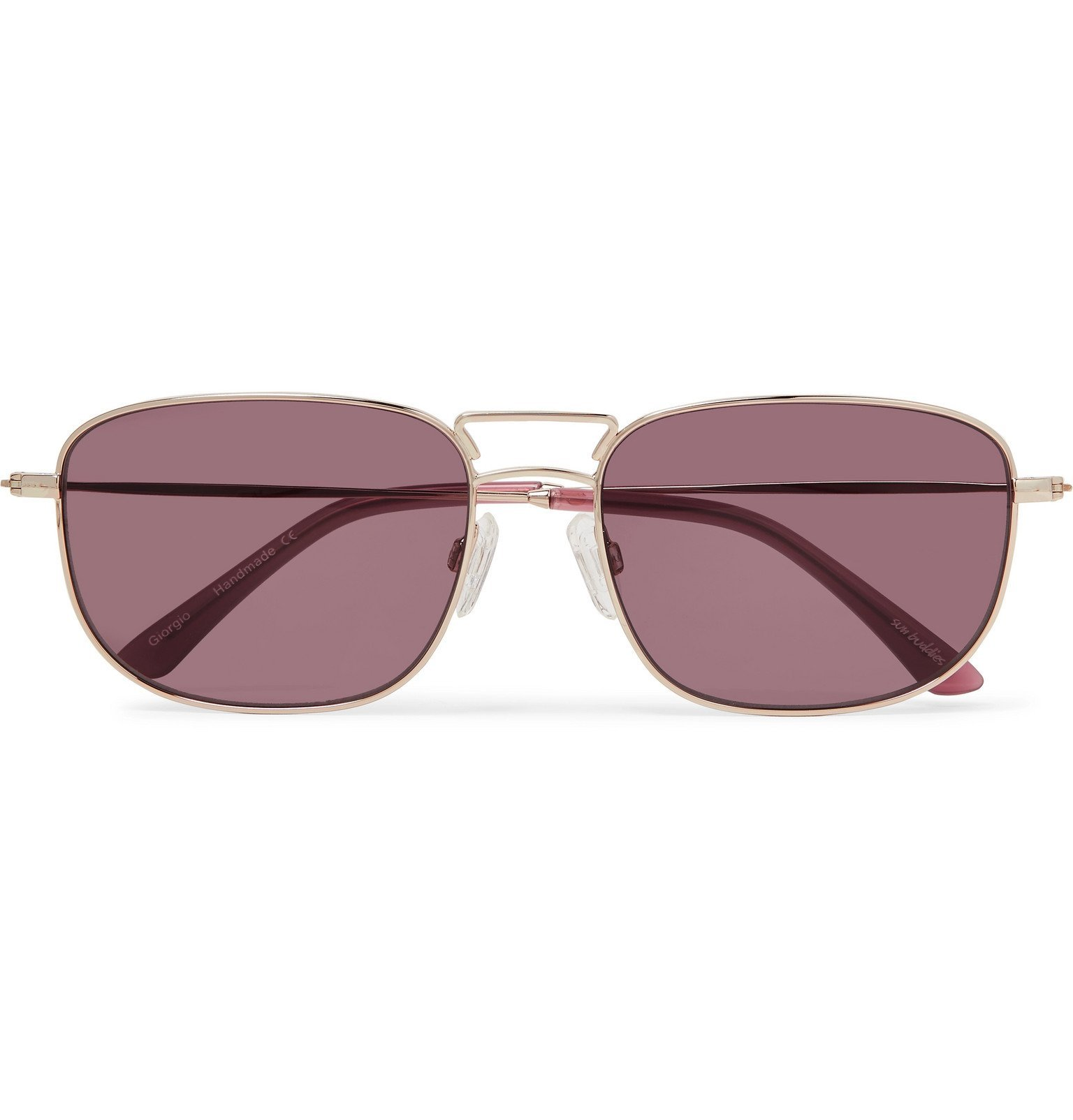 Photo: Sun Buddies - Giorgio Square-Frame Stainless Steel Sunglasses - Gold