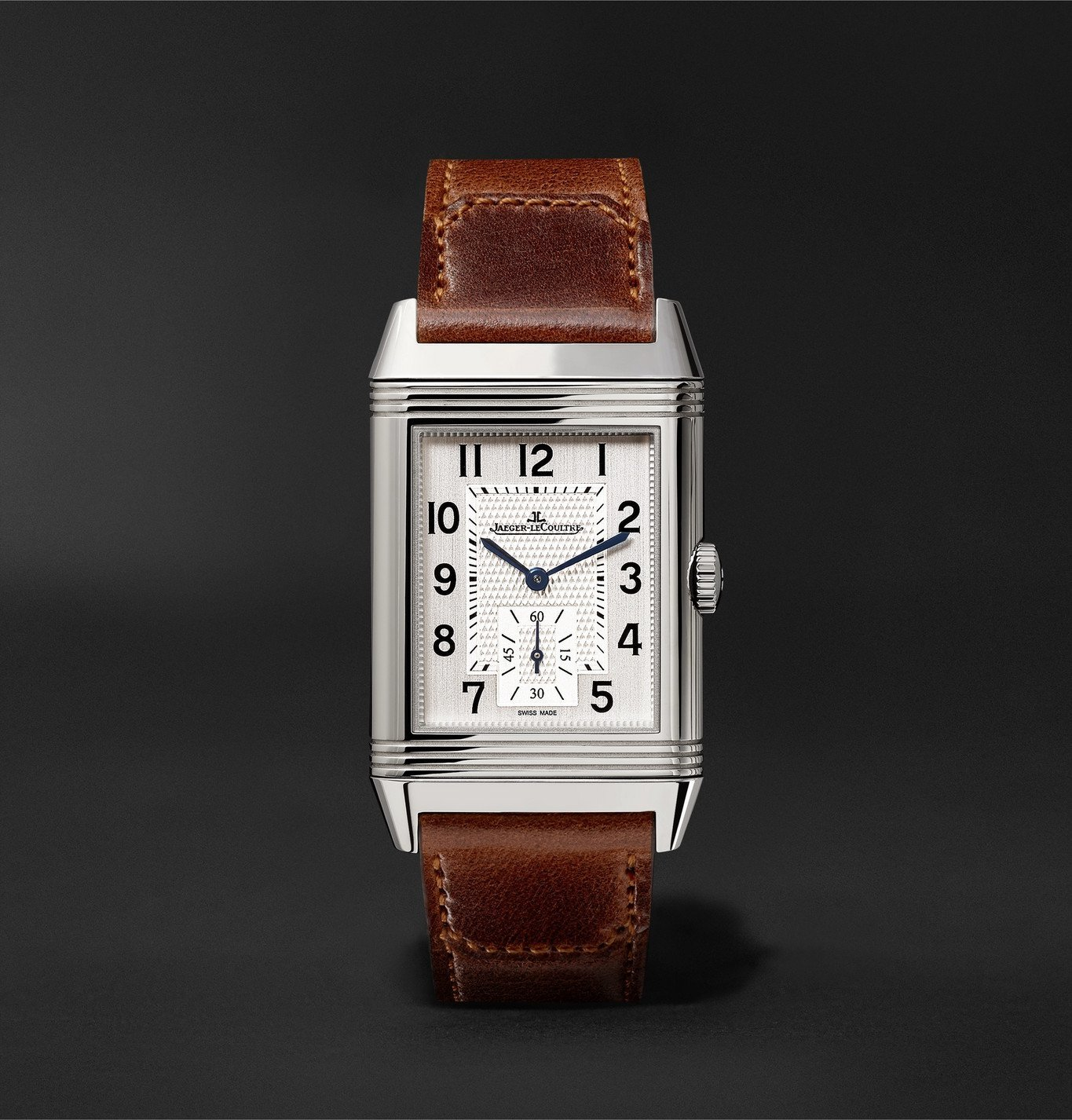 Photo: Jaeger-LeCoultre - Reverso Classic Medium Hand-Wound 25.5mm Stainless Steel and Leather Watch - White