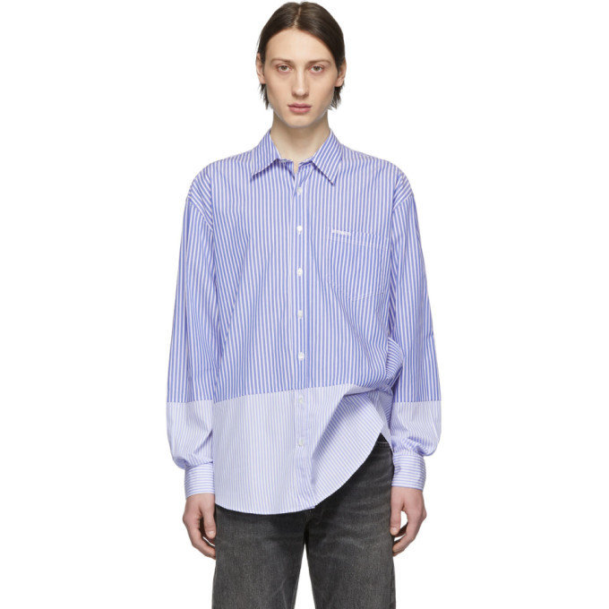 Photo: Vetements Blue and White Stripe Double Classic Shirt