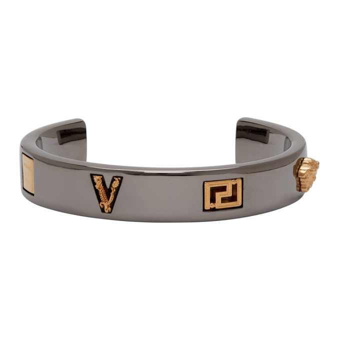 Photo: Versace Gold and Silver Logo Bracelet