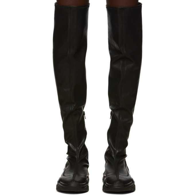 Versace Jeans Couture Black Faux-Leather OTK Chunky Boots