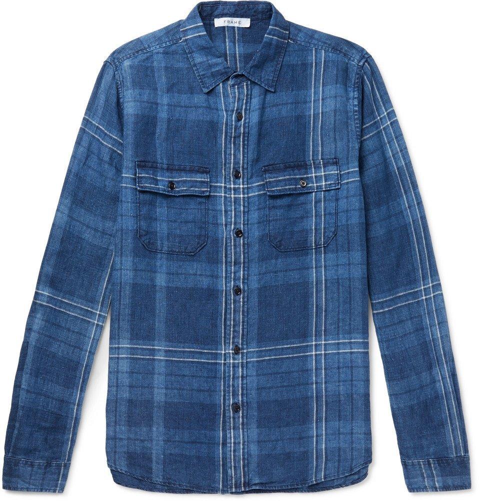 FRAME - Checked Linen Shirt - Blue