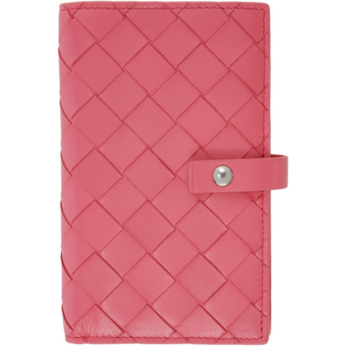 Photo: Bottega Veneta Pink Intrecciato Medium French Wallet