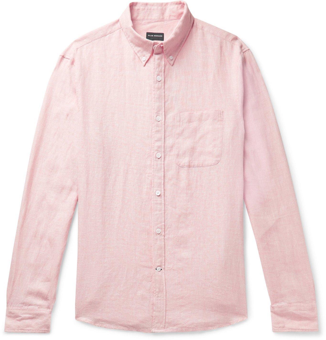 Photo: Club Monaco - Slim-Fit Button-Down Collar Linen and Cotton-Blend Shirt - Orange