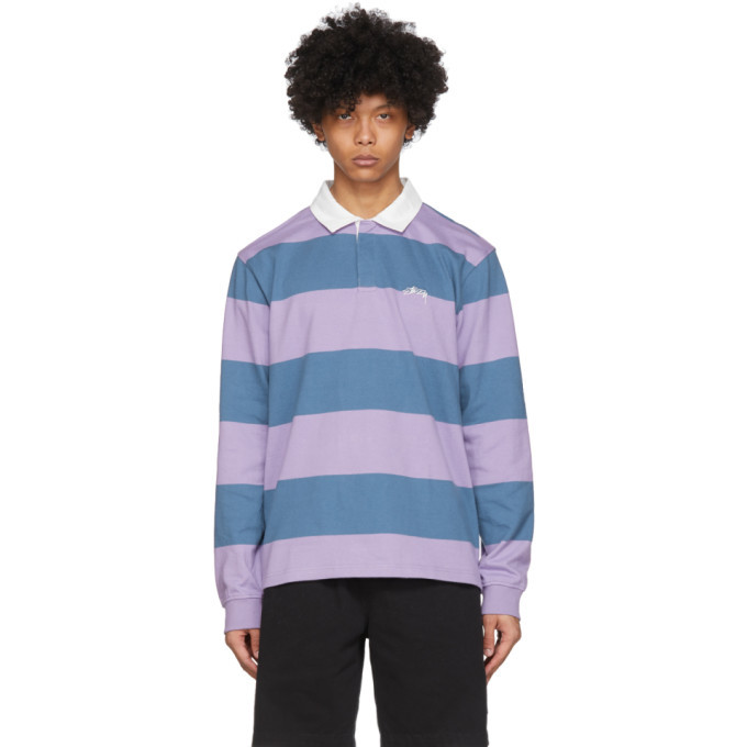 Photo: Stussy Blue and Purple Classic Stripe Rugby Polo