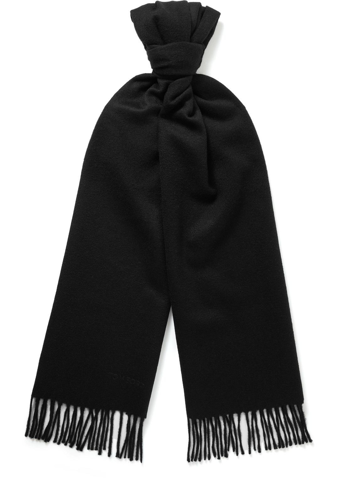 Photo: TOM FORD - Logo-Embroidered Fringed Cashmere Scarf