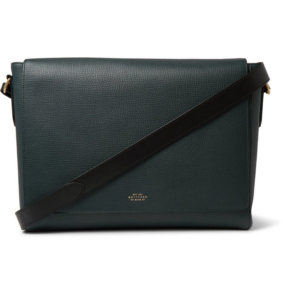 Photo: Smythson - Full-Grain Leather Messenger Bag - Green