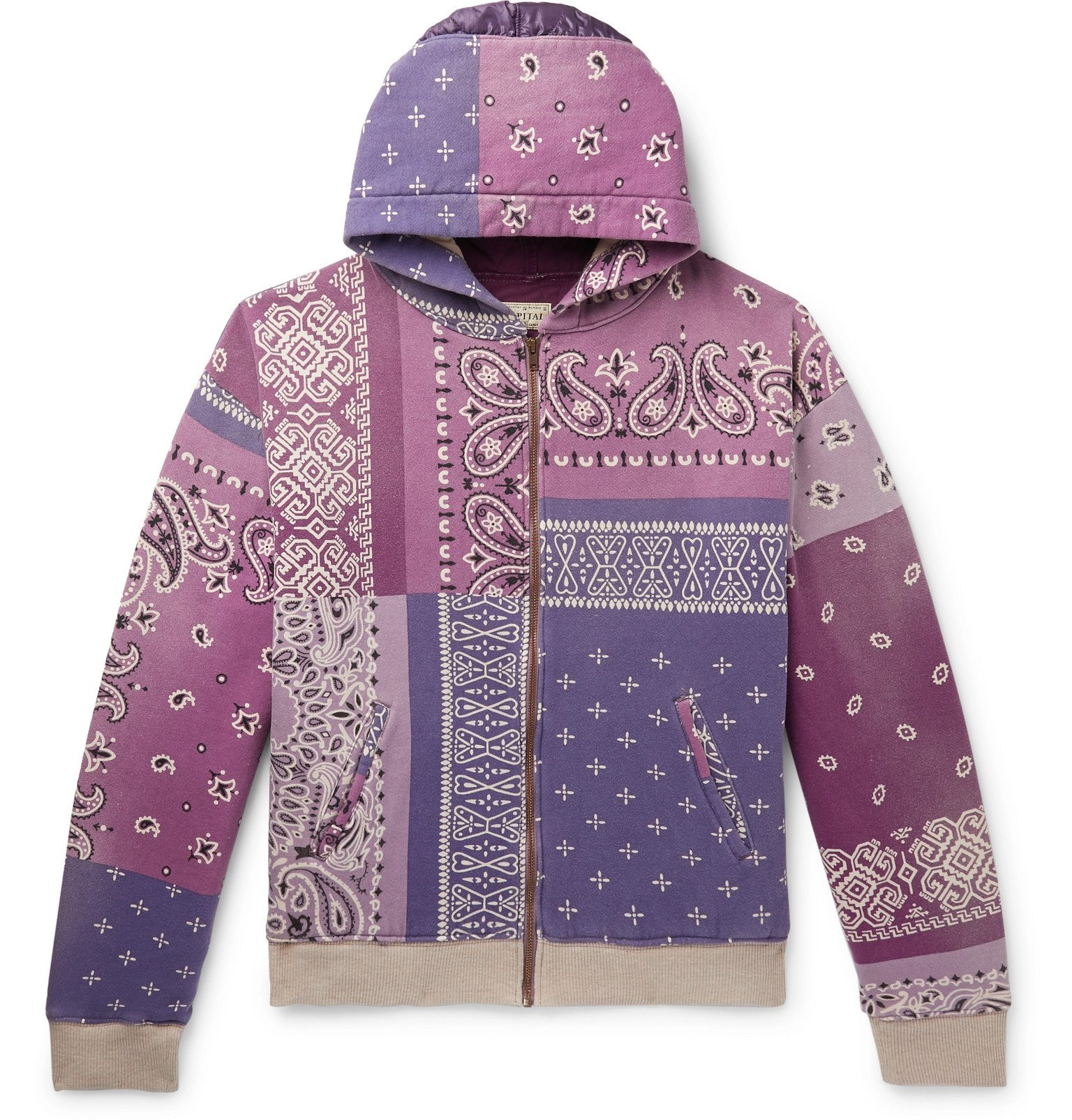 Photo: KAPITAL - Patchwork Bandana-Print Cotton-Jersey and Quilted Satin Hoodie - Purple