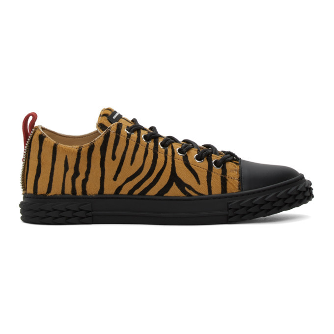 Photo: Giuseppe Zanotti Black and Beige Zebra Blabber Sneakers