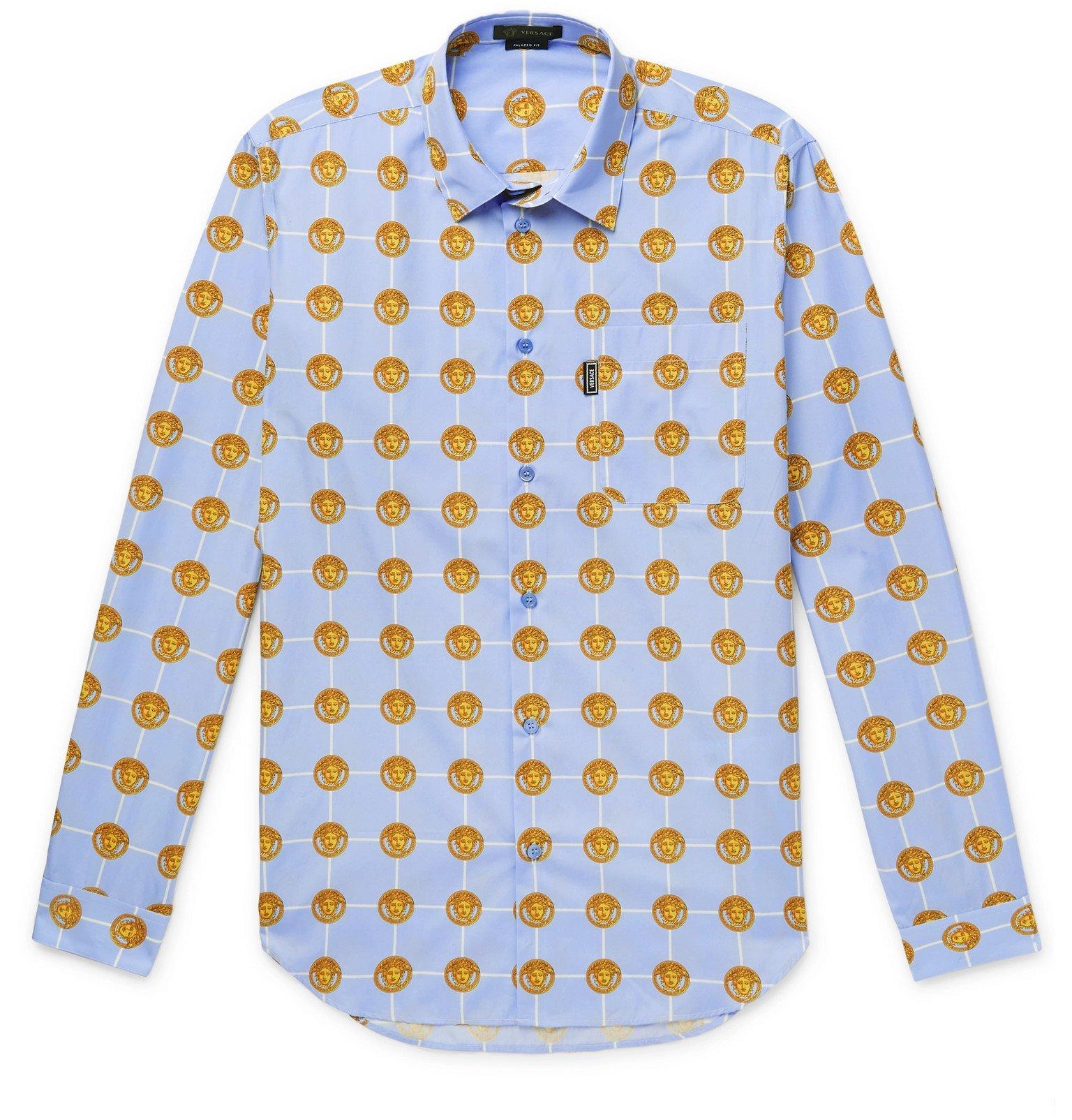 Versace - Printed Cotton Shirt - Blue