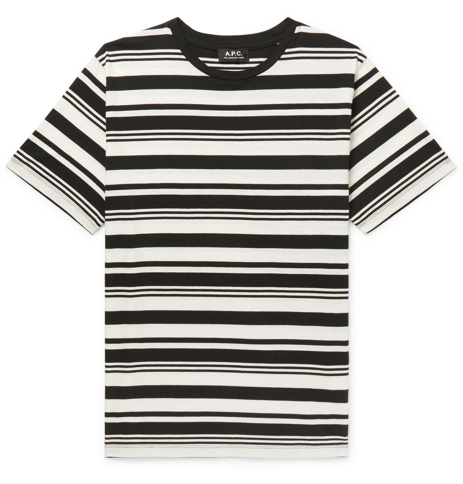 Photo: A.P.C. - Yves Striped Cotton-Jersey T-Shirt - Black