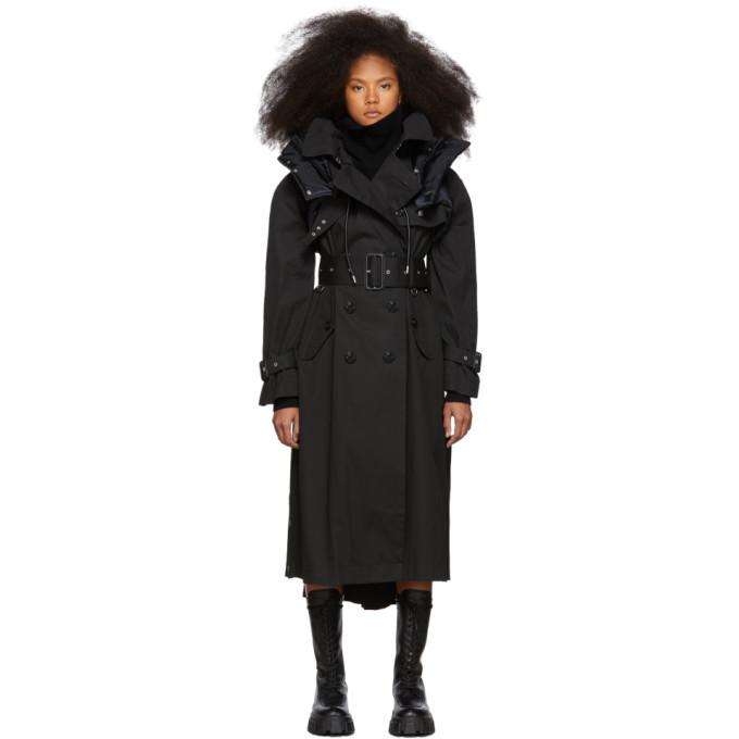 Sacai Black Coated Cotton Trench Coat