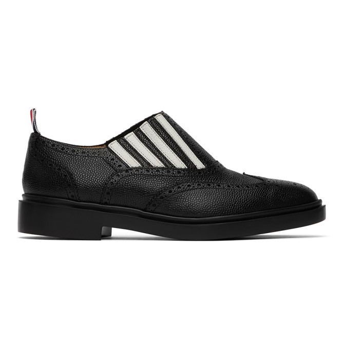 Photo: Thom Browne Black 4-Bar Slip-On Chelsea Loafers