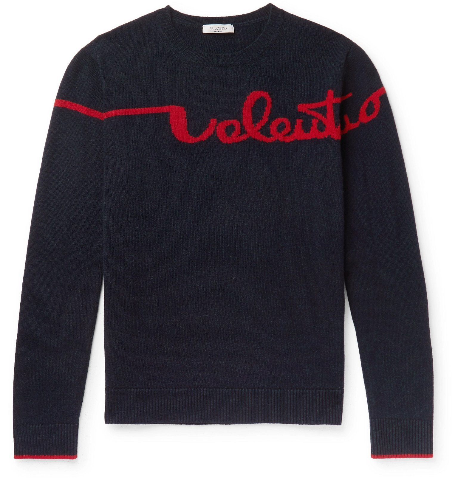 Photo: Valentino - Logo-Jacquard Virgin Wool and Cashmere-Blend Sweater - Blue