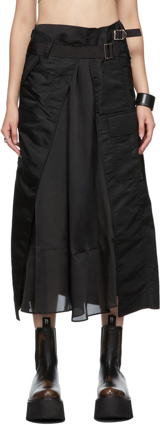 Photo: Sacai Black Nylon Paneled Skirt