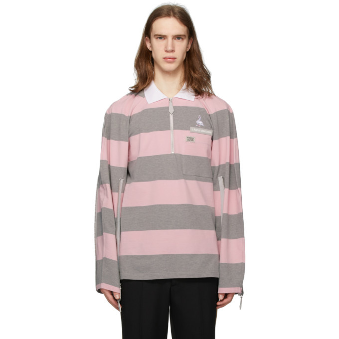 Photo: Burberry Pink and Grey Striped Zip Detail Polo