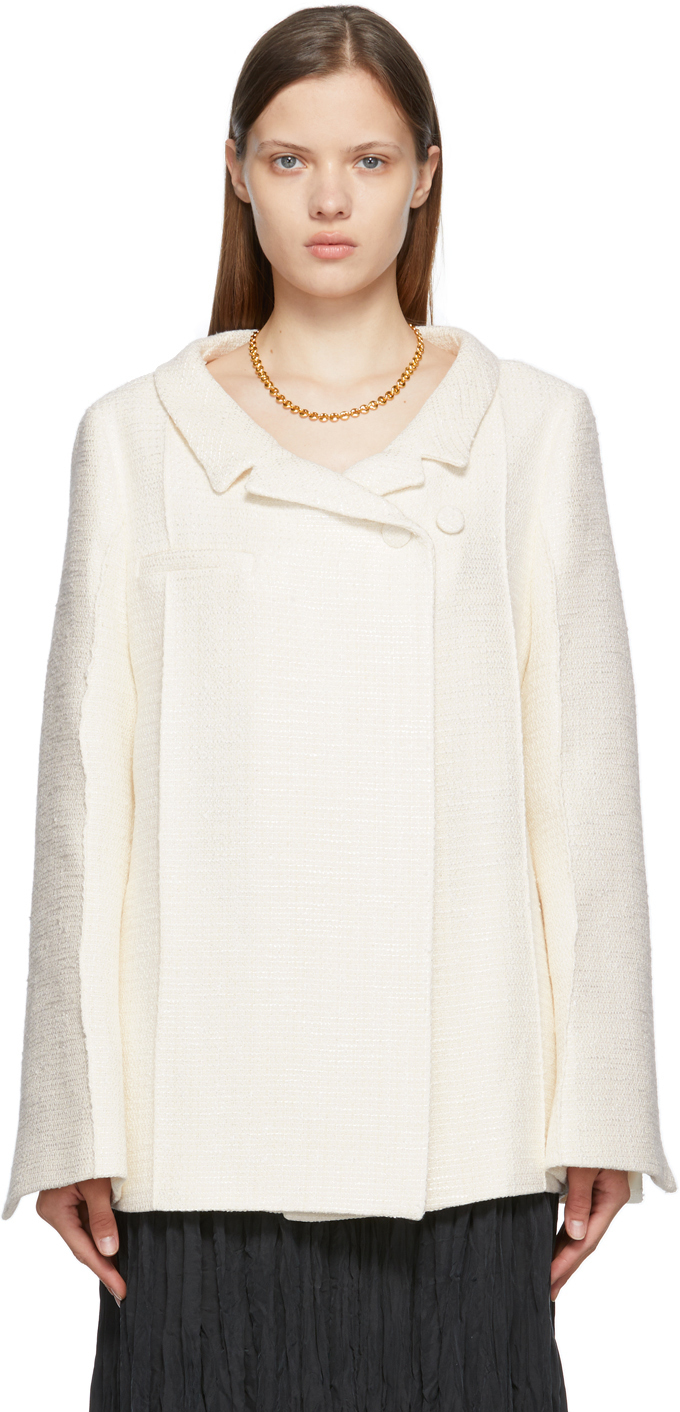 Photo: Totême Off-White Bouclé Tweed Blazer