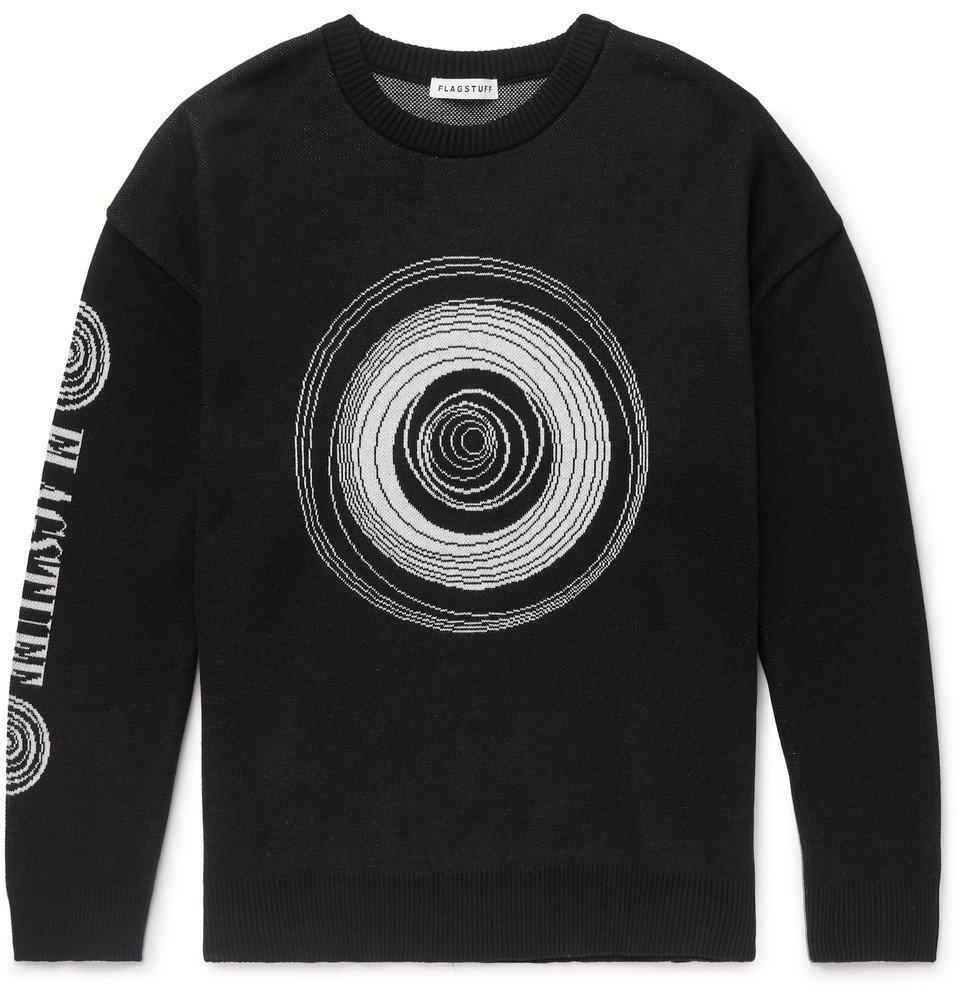 Photo: Flagstuff - Logo-Intarsia Cotton Sweater - Black