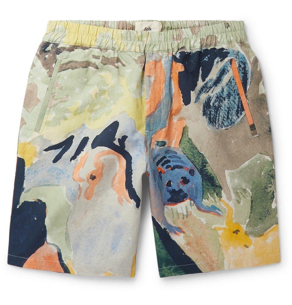 Photo: Folk - Goss Brothers Printed Linen and Cotton-Blend Drawstring Shorts - Multi