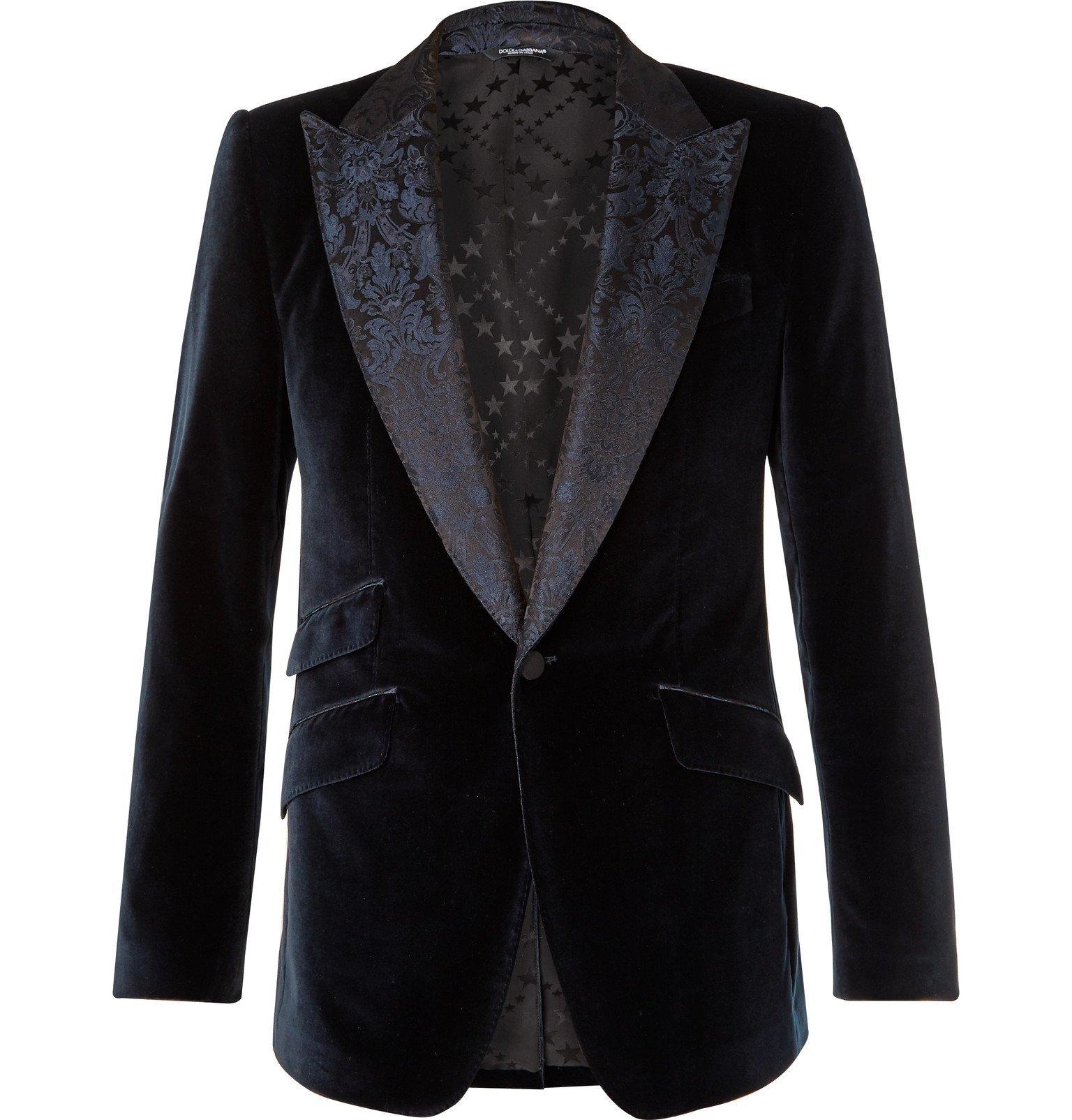 Photo: Dolce & Gabbana - Slim-Fit Jacquard-Trimmed Cotton and Silk-Blend Velvet Blazer - Blue