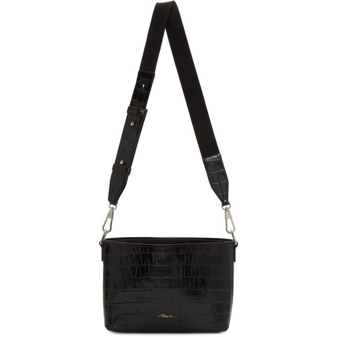 3.1 Phillip Lim Black Croc Claire Crossbody Bag