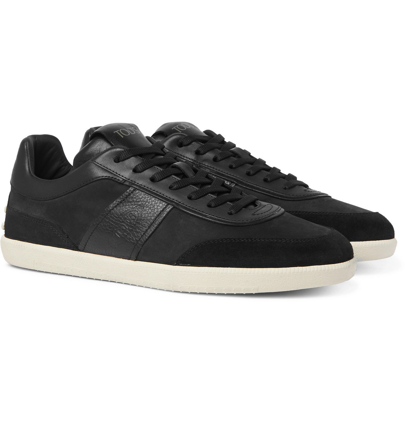 Photo: Tod's - Leather and Suede-Trimmed Nubuck Sneakers - Black
