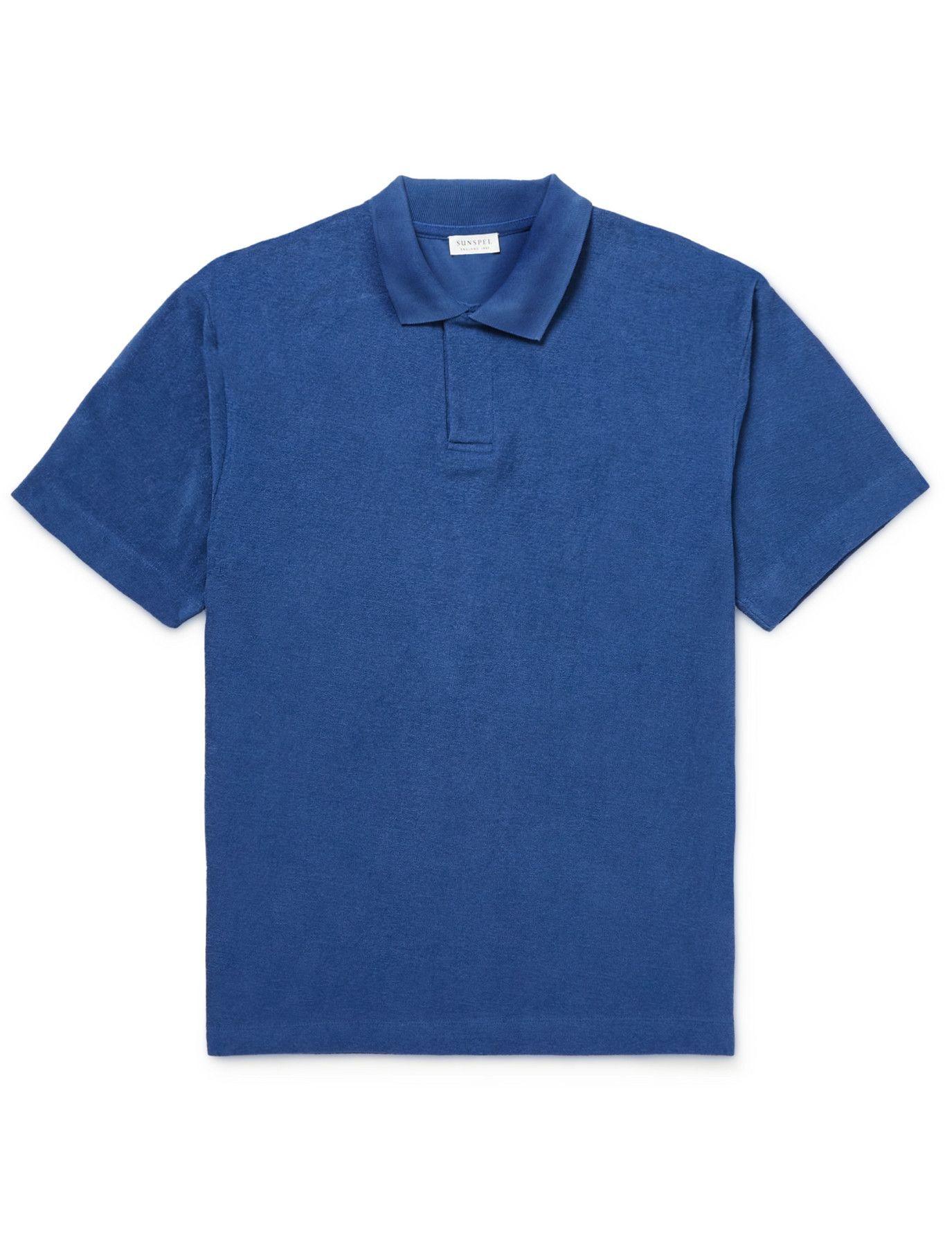 SUNSPEL - Cotton-Terry Polo Shirt - Blue