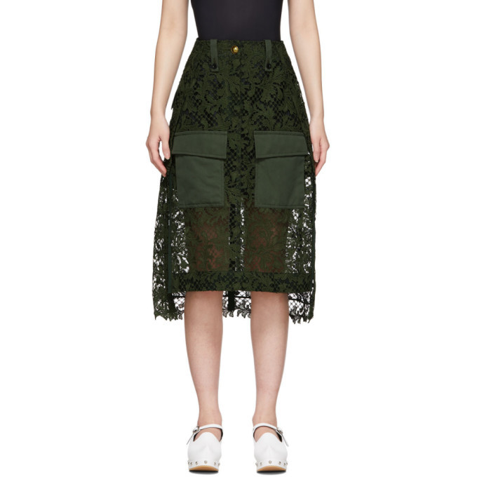 Sacai Green Embroidered Lace Skirt