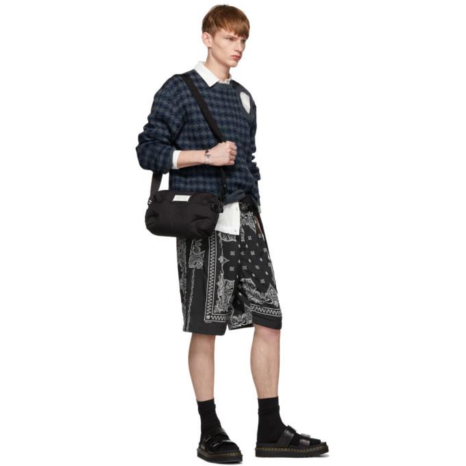 Sacai Black Bandana Print Shorts